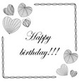 happy birthday card in zenart style hearts on vector image