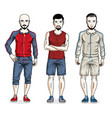 happy men group standing wearing stylish sport vector image vector image