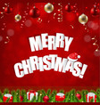 happy red merry christmas postcard vector image vector image