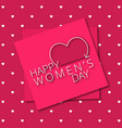 happy womens day greetings typographic with pink vector image