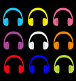 headphones earphones icon set colorful silhouette vector image vector image