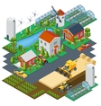 isometric farm scene village setting vector image