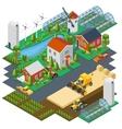 isometric farm scene village setting vector image vector image