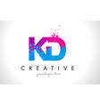 kd k d letter logo with shattered broken blue vector image vector image