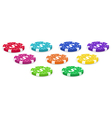 Nine colorful poker chips vector image vector image