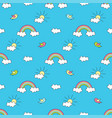 pattern with rainbows sun clouds and birds vector image