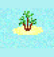 pixel island with palm tree 8 bit background vector image