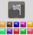 racing flag icon sign Set with eleven colored vector image vector image