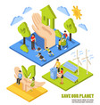 saving planet isometric composition vector image vector image