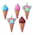 set colorful ice cream unicorn hand drawing vector image