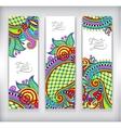 set decorative flower template banner card web vector image