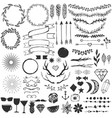 set hand drawn elements for decoration and vector image