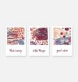 set modern decorative card templates vector image
