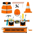 set of construction equipment orange vector image