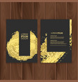 set of dark banners decoration with gold brushes vector image
