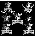 set of skull bandit sports labels vector image vector image
