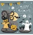 set traditional elements halloween vector image
