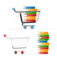 Shopping trolley with colour books vector image vector image