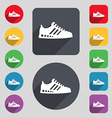 Sneakers icon sign A set of 12 colored buttons and vector image