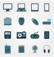 tehnology in flat style set of devices vector image vector image