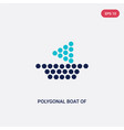 two color polygonal boat small triangles icon vector image vector image