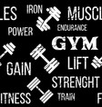 typographic fitness gym seamless pattern or vector image vector image