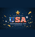 usa word text american flag with golden design vector image