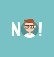 warning sign young nerd says no clip art design vector image vector image
