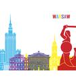 Warsaw skyline pop vector image vector image
