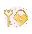 wedding love heart and lock line icon vector image