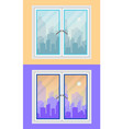 window and city view morning and evening vector image vector image
