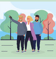 woman and men friends with smartphone and trees vector image