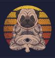yoga pug dog sunset retro vector image vector image