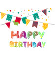 happy birthday greeting cards with balloon vector image
