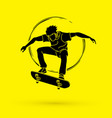 skateboarder jumping graphic vector image