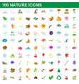 100 nature icons set cartoon style vector image vector image