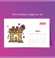 2019 happy new year march calendar template vector image vector image