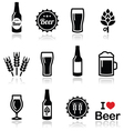 Beer icons set - bottle glass pint