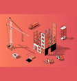 3d isometric construction concept building vector image