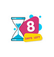 8 days left - number eight in geometric colorful vector image vector image