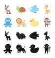 an unrealistic blackcartoon animal icons in set vector image