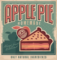 Apple pie vintage poster design vector image