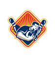 Bowler Pose Bowling Ball Pins Retro vector image vector image