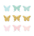 butterflies set cute cartoons gold glitter vector image