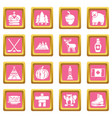 canada travel icons set pink square vector image vector image