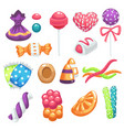 candies and sweets bonbons and jelly marshmallow vector image