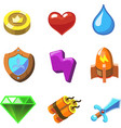 cartoon icons for game user interface set vector image vector image