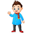 cartoon little boy in winter clothes vector image vector image