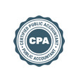 certified public accountant sign or stamp cpa vector image vector image