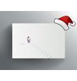 christmas greeting card with walking santa claus vector image
